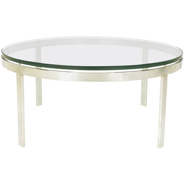 Round Nickel Over Steel Floating Glass Coffee Table For Sale At nicely regarding Floating Glass Coffee Tables (Image 14 of 20)