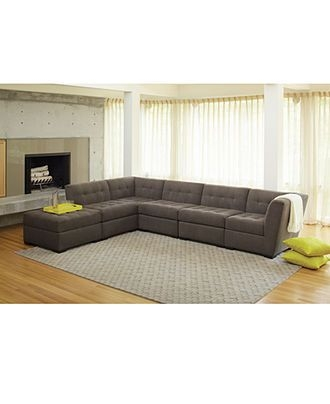 Roxanne Fabric 6 Piece Modular Sectional Sofa W Ottoman Shops well for Armless Sectional Sofas (Image 15 of 20)