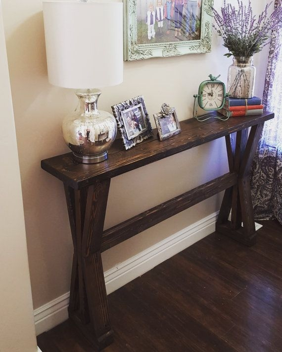 Rustic Farmhouse Entryway Table Sofa Table Modernrefinement effectively in Narrow Sofa Tables (Image 13 of 20)