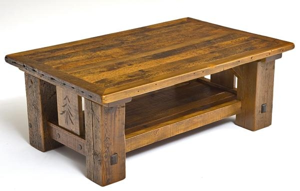 Rustic Lodge Coffee Table Carved Pine Tree Motif Cabin Decor Nicely Throughout Pine Coffee Tables (View 12 of 20)