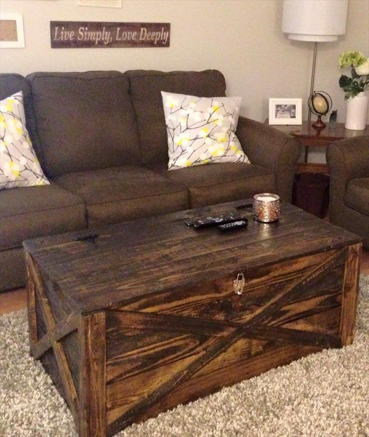 Rustic Pallet Coffee Table Or Storage Chest 720852 perfectly intended for Storage Trunk Coffee Tables (Image 12 of 20)