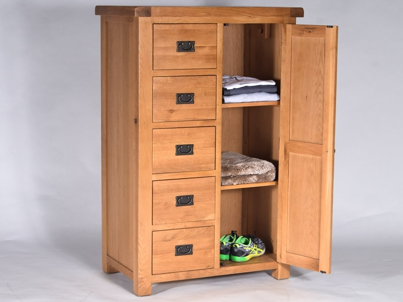 Rustique Oak Short Wardrobe Combi With One Door And 5 Drawers nicely throughout Wardrobe With Shelves and Drawers (Image 25 of 30)