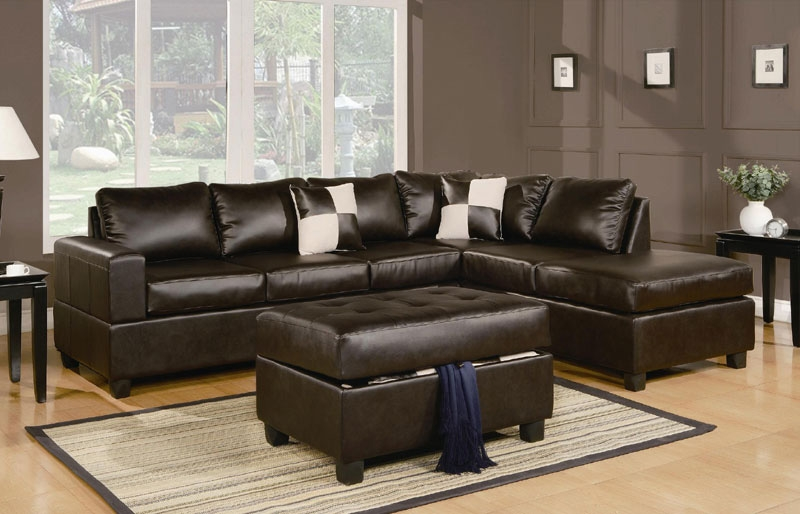 Sacramento Espresso Leather Sectional Sofa With Left Facing Chaise well in Contemporary Black Leather Sectional Sofa Left Side Chaise (Image 19 of 20)