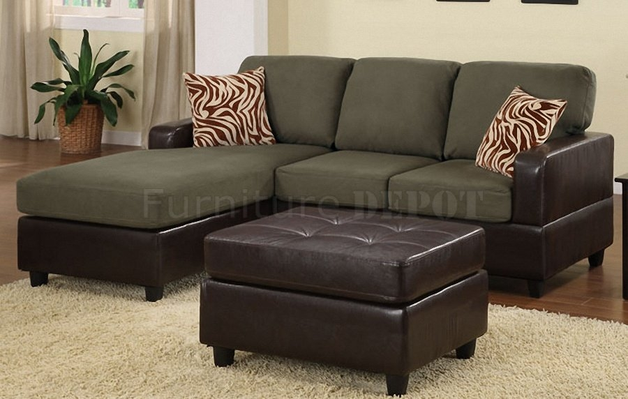 Sage Microfiber Faux Leather Small Sectional Sofa Best S3net properly inside Small Sectional Sofa (Image 15 of 20)