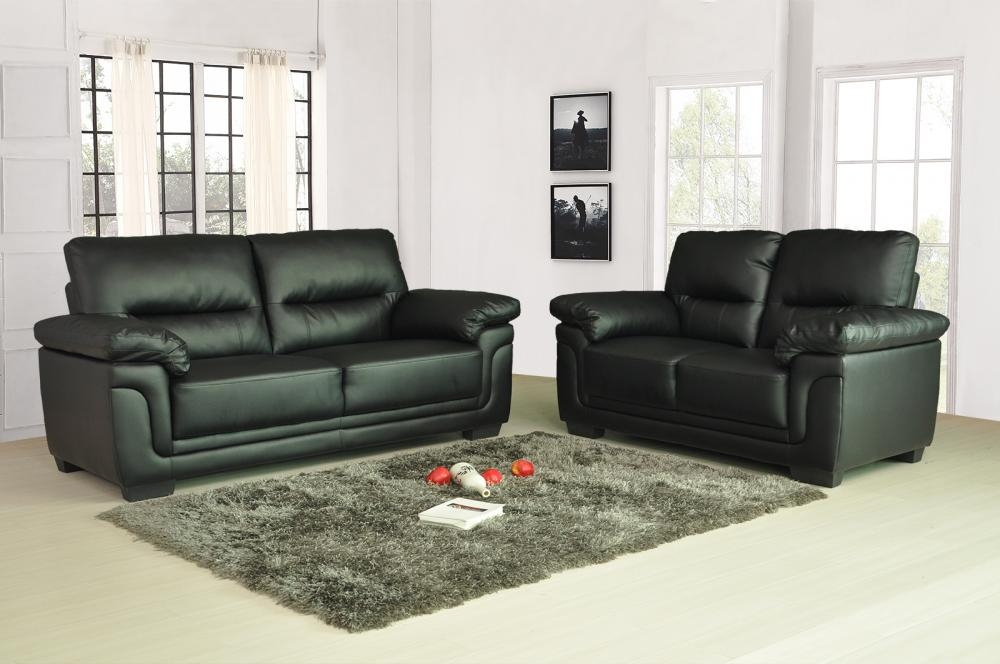 Sale New Luxury Kansas Leather Sofas 3 2 Seater Super Value Free nicely pertaining to Black 2 Seater Sofas (Image 19 of 20)