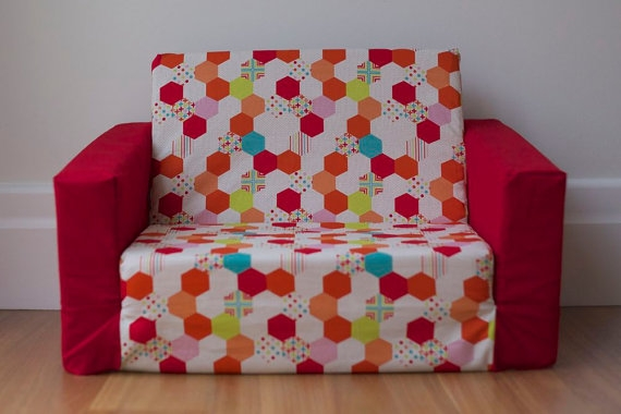 Sale Sample Kids Flip Out Sofa Cover Red Multi Colour perfectly regarding Flip Out Sofa For Kids (Image 14 of 20)