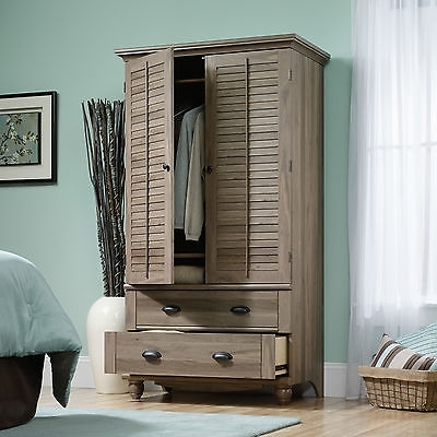Salt Oak Cabinet Wardrobe Drawer Dresser Bedroom Storage Shelf very well within Oak Wardrobe With Drawers and Shelves (Image 20 of 30)