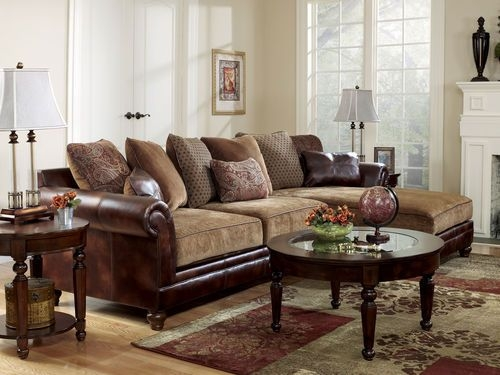 Sanders Old World Faux Leather Chenille Sofa Couch Sectional nicely within Chenille And Leather Sectional Sofa (Image 12 of 20)