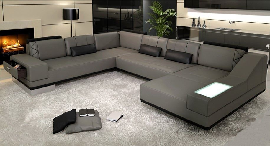 Sectional Sofa Grey Charcoal Grey Sectional Sofa Images The Nest most certainly within Gray Leather Sectional Sofas (Image 14 of 20)