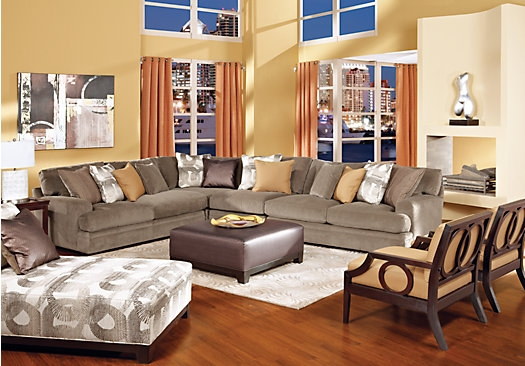 Shop For A Cindy Crawford Home Fontaine 5 Pc Sectional Living Room properly regarding Cindy Crawford Home Sectional Sofa (Image 18 of 20)