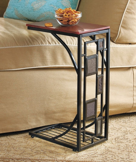 Side Sofa Table Slate Trimmed Tv Remote Snack Drink Holder Slides nicely pertaining to Sofa Drink Tables (Image 15 of 20)