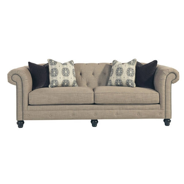 Signature Design Ashley Azlyn Sepia Sofa Free Shipping Today certainly intended for Ashley Tufted Sofa (Image 12 of 20)