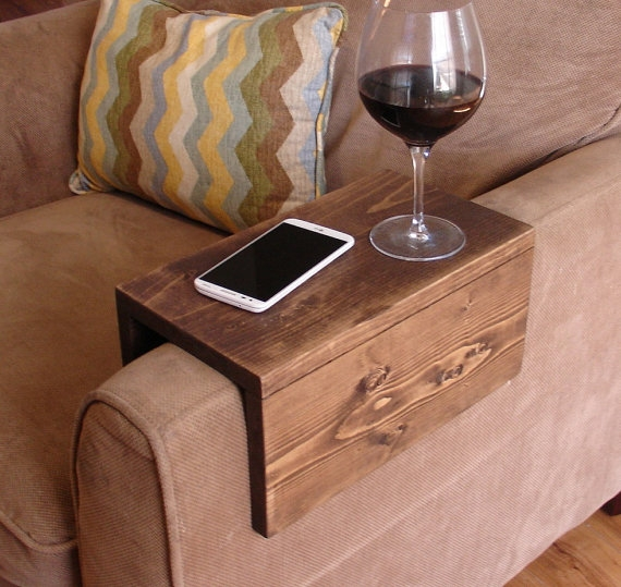 Simply Awesome Couch Sofa Arm Rest Wrap Tray Table Narrow Widths clearly within Sofa Drink Tables (Image 16 of 20)