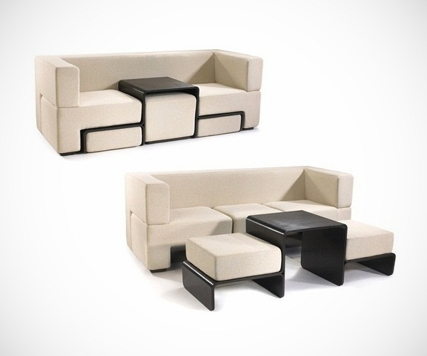 Slot Sofa With Coffee Table And Footrests Clearly With Coffee Table Footrests (View 19 of 20)