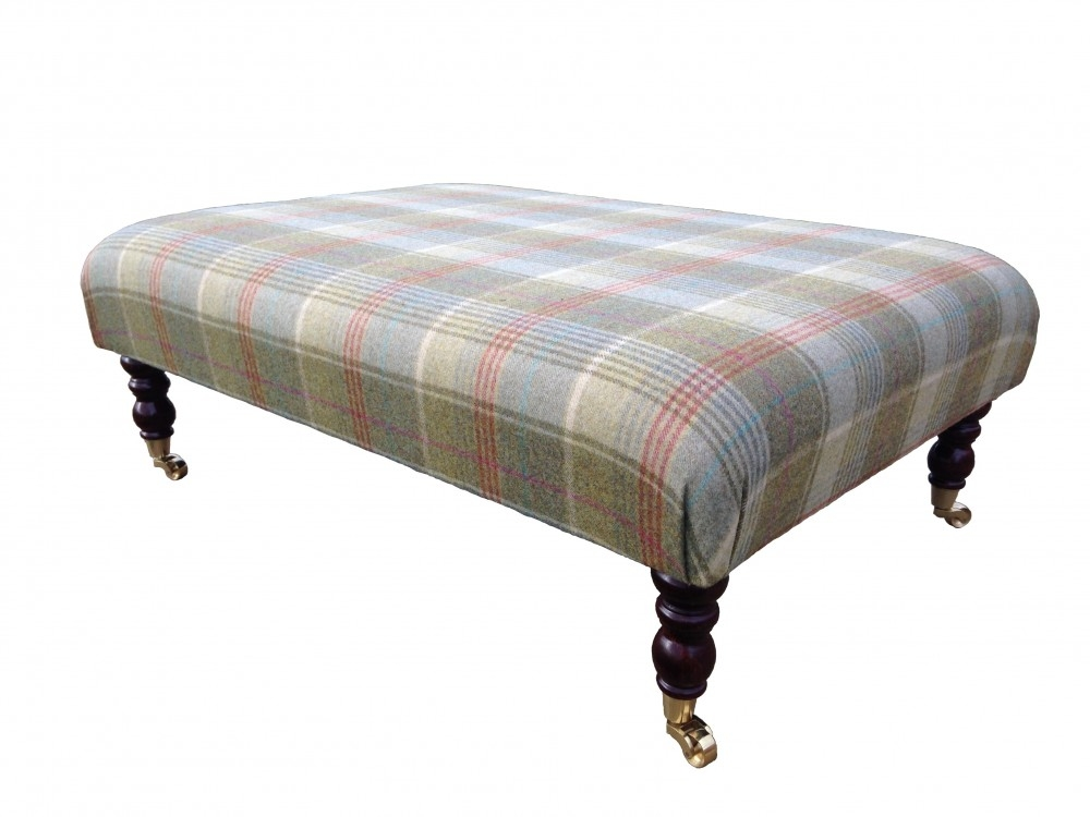 Sofa Large Upholstered Footstool Tartan Round Ottoman Square effectively in Large Footstools (Image 18 of 20)