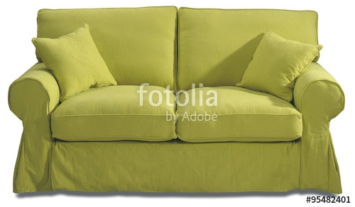 Sofa On White With Loose Covers In Lime Green Washable Fabric clearly regarding Sofa With Washable Covers (Image 12 of 20)