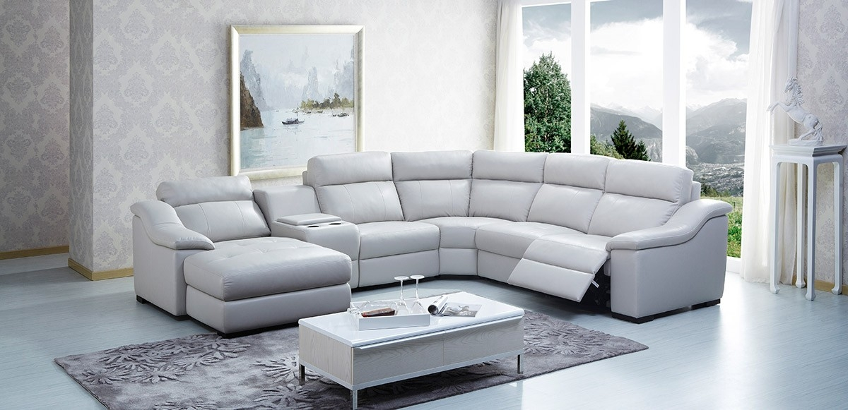 Sofas Center Light Grey Sectional Sofa With Chaise Gray Leather clearly intended for Gray Leather Sectional Sofas (Image 17 of 20)
