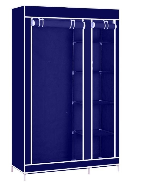 Solid Double Clothes Rack Shelves Canvas Fabric Wardrobe Rail definitely with regard to Double Canvas Wardrobe Rail Clothes Storage Cupboard (Image 12 of 20)