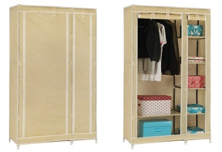 Solid Double Clothes Rack Shelves Canvas Fabric Wardrobe Rail nicely pertaining to Double Clothes Rail Wardrobes (Image 7 of 20)