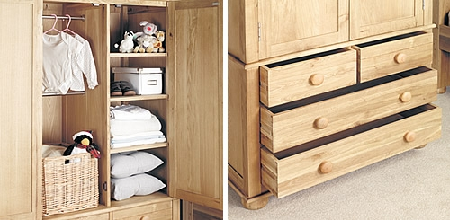 Solid Oak Double Wardrobe Amelie Home Storage Systems From Store perfectly for Childrens Wardrobes With Drawers and Shelves (Image 7 of 30)