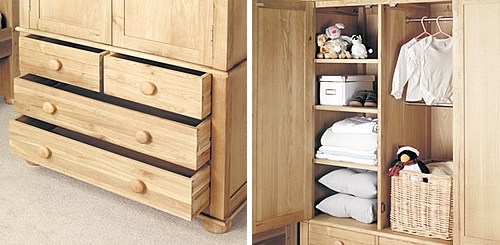 Solid Oak Double Wardrobe Amelie Home Storage Systems From Store very well with regard to Oak Wardrobe With Drawers And Shelves (Image 7 of 30)