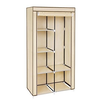 Songmics Double Canvas Wardrobe With 2 Hanging Rail Clothes effectively throughout Double Canvas Wardrobe Rail Clothes Storage Cupboard (Image 13 of 20)