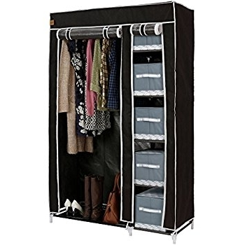Songmics Non Woven Fabric Wardrobe Cupboard Bedroom Furniture well for Large Double Rail Wardrobes (Image 13 of 30)
