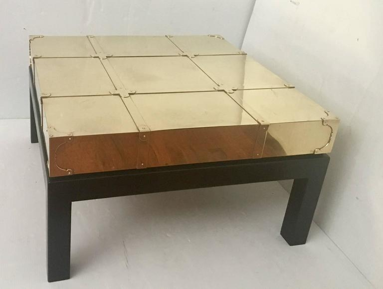 Square Coffee Table In Brass And Black Lacquer Oak Sarreid Ltd very well intended for Lacquer Coffee Tables (Image 16 of 20)