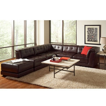 Stacey Leather 6 Piece Modular Sectional From Macys Home nicely within 6 Piece Leather Sectional Sofa (Image 15 of 20)