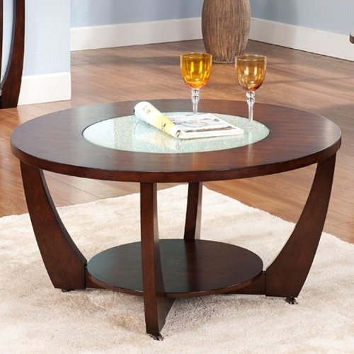 Steve Silver Rafael Round Cherry Wood And Glass Coffee Table properly intended for Round Glass and Wood Coffee Tables (Image 16 of 20)