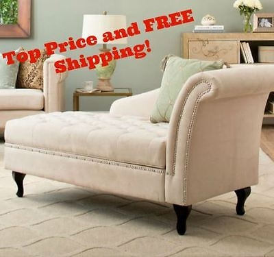Storage Chaise Lounge Bedroom Accent Seat Tufted Cushion Bench well inside Accent Sofa Chairs (Image 16 of 20)