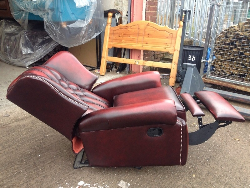 Stunning Vintage Oxblood Leather Monk High Back Saxon Chesterfield clearly pertaining to Chesterfield Recliners (Image 18 of 20)