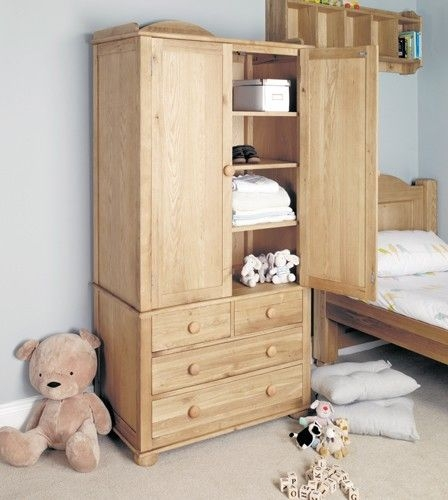 Stylish Double Amelie Oak Childrens Double Wardrobe Which clearly intended for Childrens Double Rail Wardrobes (Image 8 of 20)