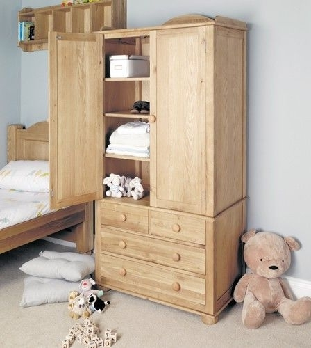 Stylish Double Amelie Oak Childrens Double Wardrobe Which good throughout Double Rail Childrens Wardrobes (Image 9 of 30)
