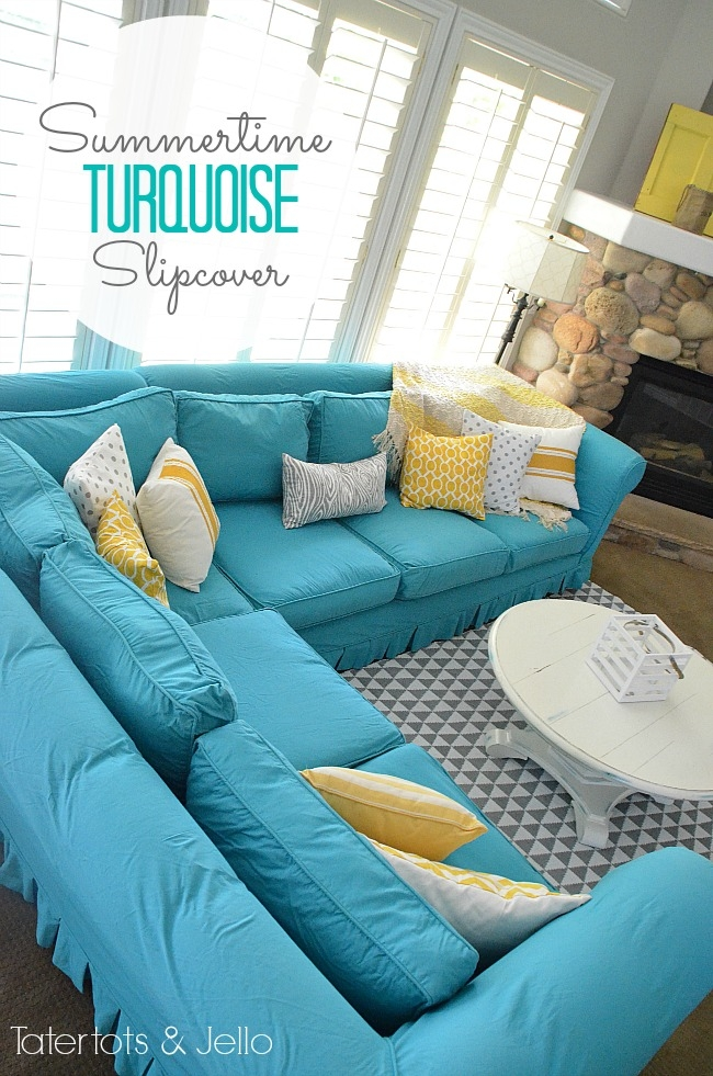 Switching Things Up For Summer With A Turquoise Slipcover well with Turquoise Sofa Covers (Image 18 of 20)