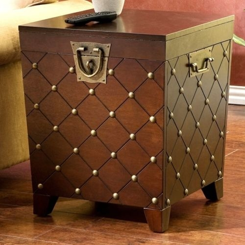 Table Brown Studded Trunk Coffee Sofa Chest Storage Side Tables most certainly within Sofa Side Tables With Storages (Image 20 of 20)