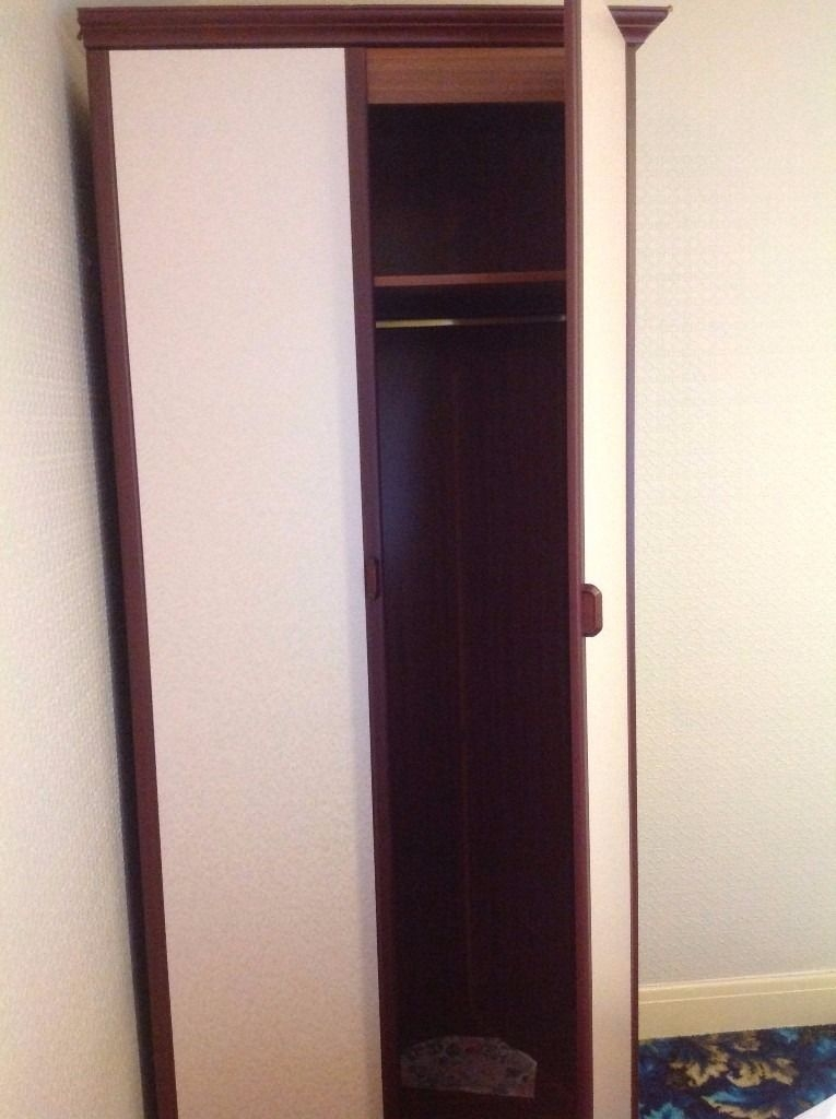 Tall Double Wardrobe In Dark Brown And Cream Excellent Condition good regarding Tall Double Hanging Rail Wardrobes (Image 5 of 30)