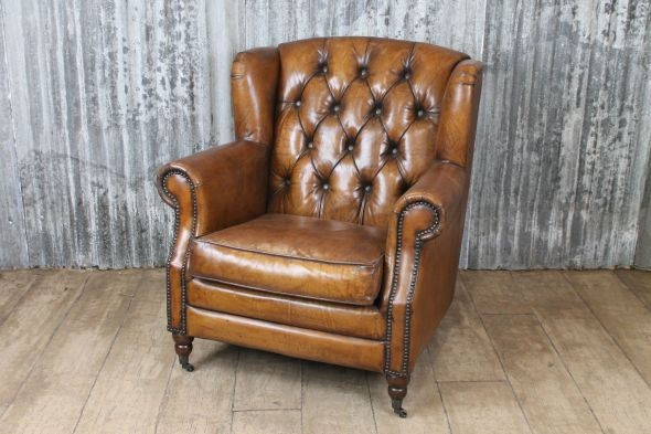 Tan Leather Armchair Vintage Inspired Tubular certainly pertaining to Vintage Leather Armchairs (Image 15 of 20)