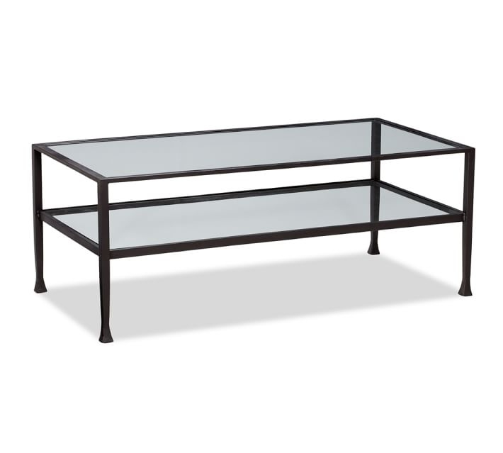 Tanner Rectangular Coffee Table Bronze Finish Pottery Barn definitely within Metal and Glass Coffee Tables (Image 19 of 20)