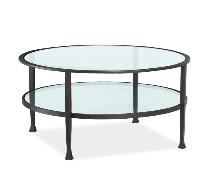 Tanner Round Coffee Table Bronze Finish Pottery Barn effectively in Metal and Glass Coffee Tables (Image 20 of 20)