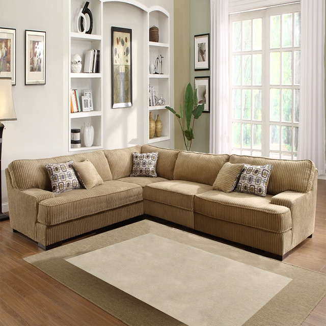 Tara Beige Chenille Sectional Contemporary Sectional Sofas perfectly within Chenille Sectional Sofas (Image 18 of 20)