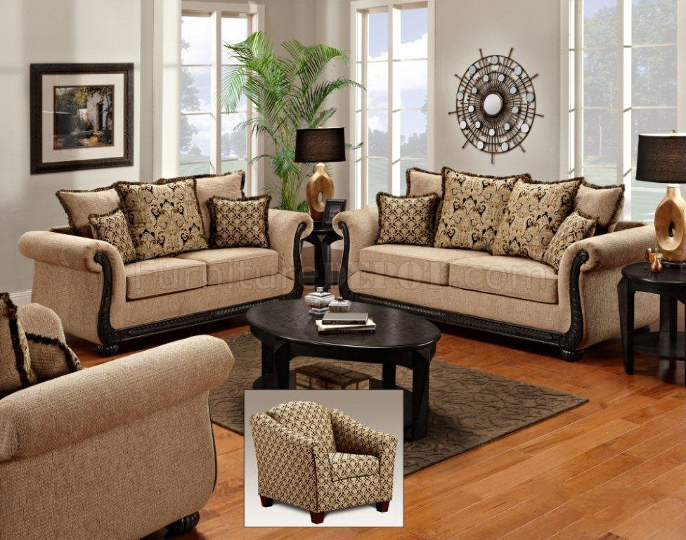 Taupe Fabric Classic Sofa Loveseat Set Woptions clearly with regard to Classic Sofas for Sale (Image 20 of 20)