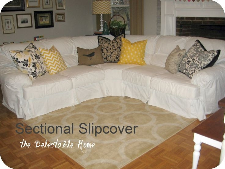 The Delectable Home Impossible Sectional Slipcover Sew What properly with Slipcover for Leather Sectional Sofas (Image 20 of 20)