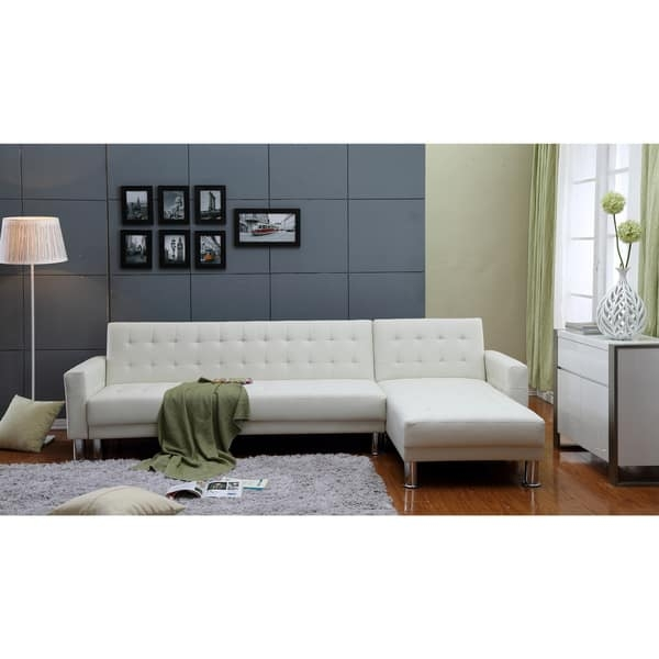 The Hom Marsden 2 Piece White Tufted Bi Cast Leather Sectional Clearly For Sectional Sofa Beds (View 18 of 20)