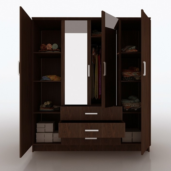 Three Doors 4 Drawers Wardrobe Hpd514 Free Standing Wardrobes most certainly with 3 Door Wardrobe With Drawers and Shelves (Image 14 of 30)