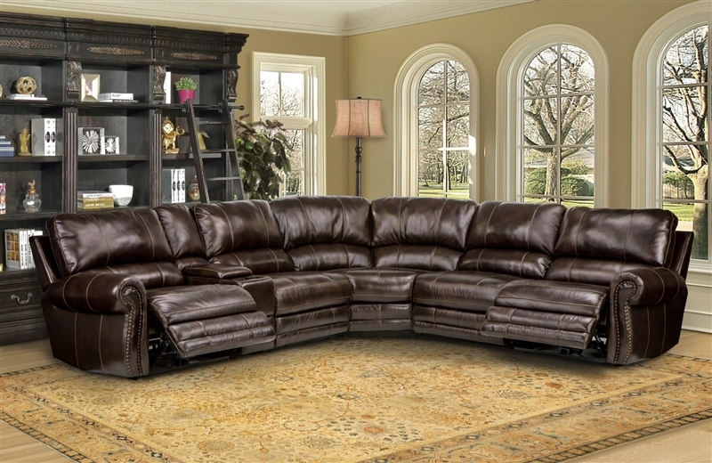 Thurston 6 Piece Power Reclining Sectional In Havana Leather good regarding 6 Piece Leather Sectional Sofa (Image 16 of 20)