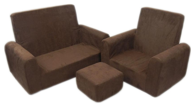 Toddler Trio Denim Contemporary Kids Sofas Beyond Stores good for Sofa Chair And Ottoman (Image 18 of 20)