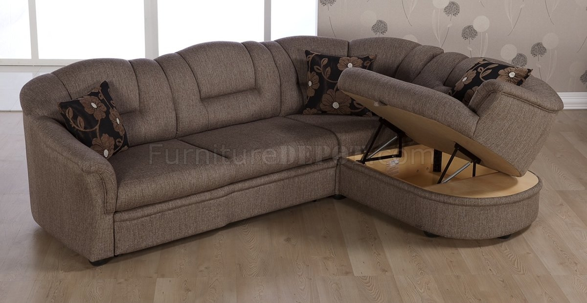 Tone Brown Fabric Convertible Sectional Sofa Bed Wstorage clearly with Convertible Sectional Sofas (Image 19 of 20)