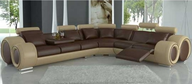 Tone Leather Sectional Sofas With Recliners Modern Living Room certainly within Modern Reclining Leather Sofas (Image 20 of 20)