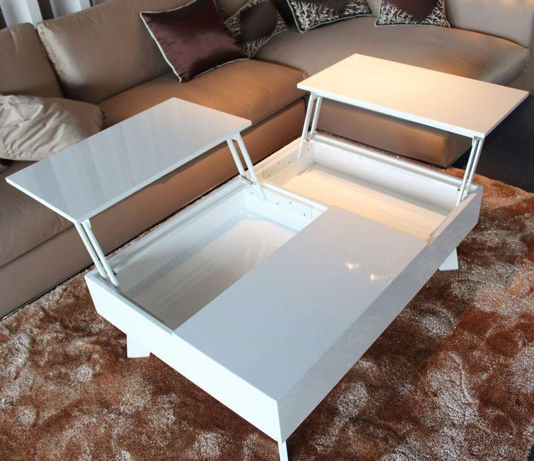 Tosh Furniture Modern White Lacquer Coffee Table Flap Stores most certainly with regard to Lacquer Coffee Tables (Image 17 of 20)